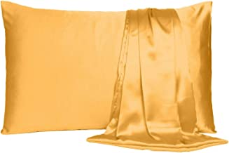 Satin Pillow Cover Pillowcase Soft & Comfortable Silky for Hair & Skin Home Decor (Apricot Tan, Toddler Size, 12X19 INCHES)
