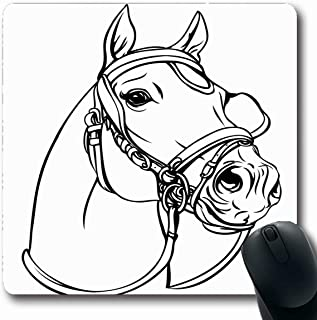 Ahawoso Mousepad Oblong 7.9x9.8 Inches Champion Race Horse Head On White Western Stud Bridle Outline Line Design Office Computer Laptop Notebook Mouse Pad,Non-Slip Rubber