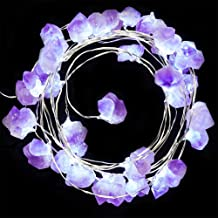 BOHON Decorative Lights Amethyst LED String Lights Battery Operated with Remote 10 ft 40 LEDs Natural Crystal String Lights for Bedroom Party Indoor Birthday Wedding Decor