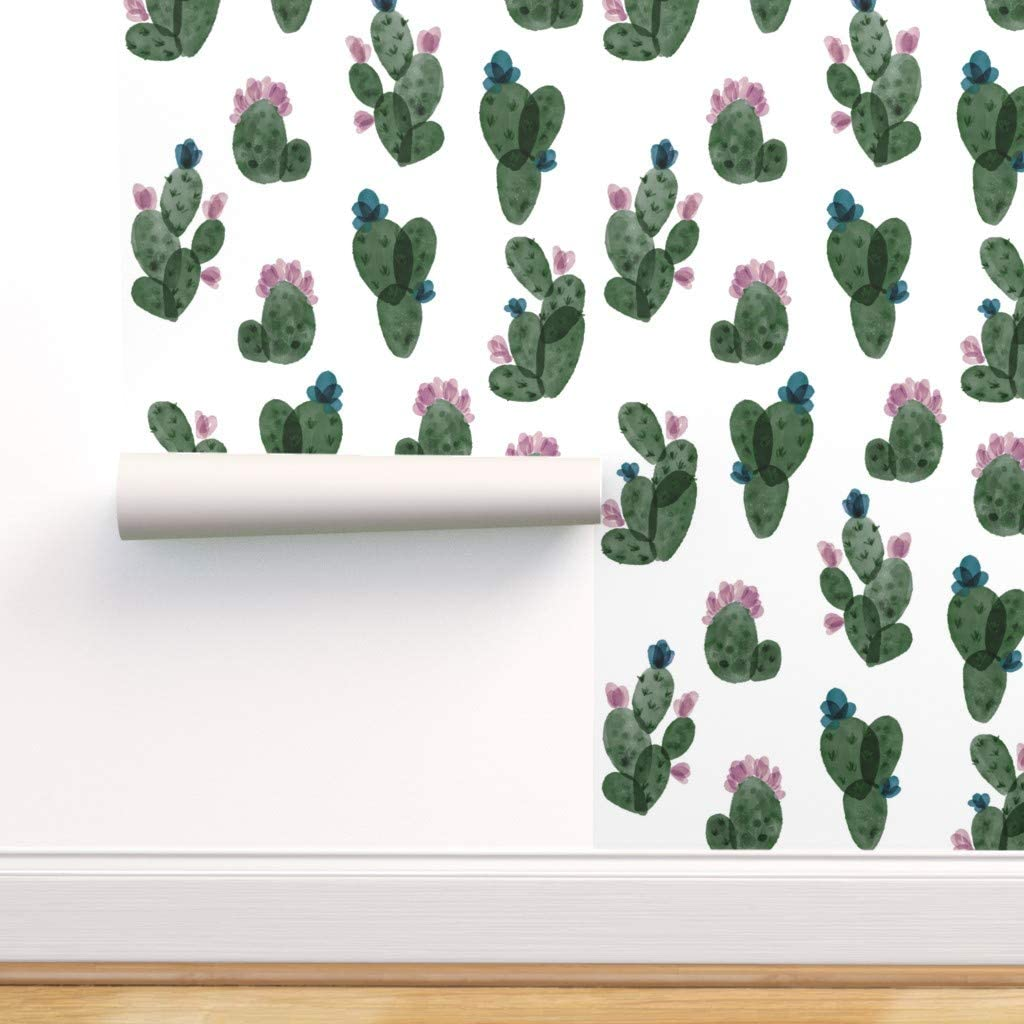 Spoonflower Peel and Stick Wallpaper Removable 引出物 Watercolo 供え Cactus