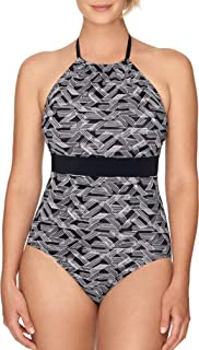 Women's Black and White Geometric Print High Neck One Piece Swimsuit with Full Seat Coverage