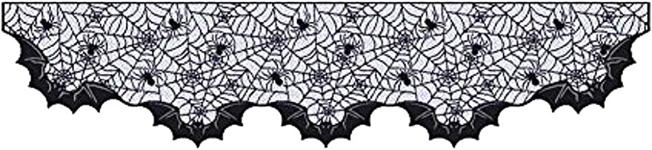 Pano de decoração de tecido de lareira de Halloween, aranha morcego, tecido de renda para decoração de festa em casa, lare...