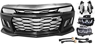 IKON MOTORSPORTS   Front Bumper Cover w/Black Headlights Foglights Compatible With 2010-2013 Chevy Camaro   ZL1 Style 5th to 6th Gen PP Conversion Bodykit Front Lip Spoiler Bumper Replacement