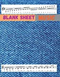 Blank Sheet Music Lyrics & Music, Blue denim textile cover, 100 pages - Large(8.5 x 11 inches)