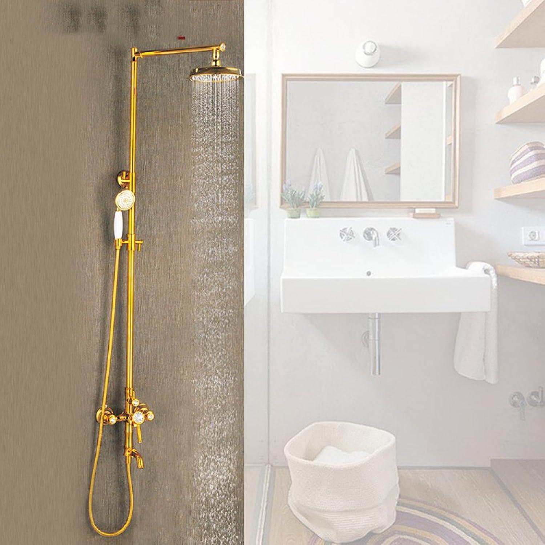 ZHFC Dusche Badezimmer Europer alle Bronze Dusche Diamant Regen Dusche Dusch-Set Retro Titanium Wasserhahn Dusche
