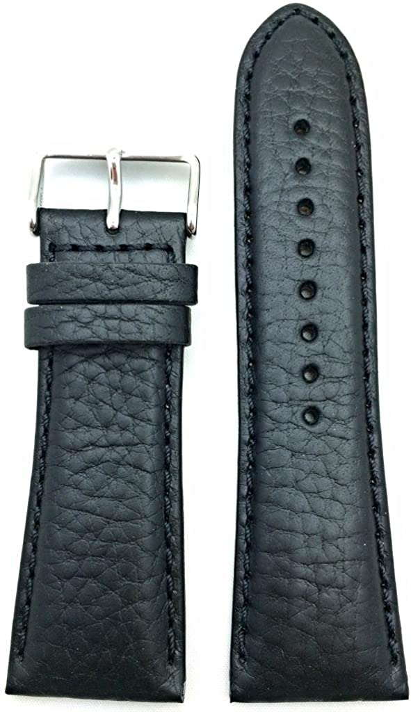 NEW before selling 28mm Black Genuine Leather Watch Smooth Shrunken Grained Max 72% OFF Band