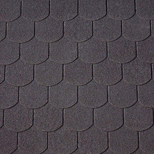 Bitumen-Dachschindeln Biberschwanzschindeln schwarz, 3 m², Dachbelag, Bitumenschindeln Dacheindeckung Gartenhaus Dach Blech Dachschindeln
