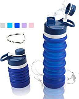 Yeeone Collapsible Water Bottle Food-Grade Silicone FDA Approved,BPA Free, Leak Proof Portable Travel &Sports Water Bottle with Carabiner