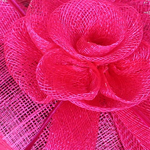 FHKGCD 4 Capas Sinamay Fascinator Sombrero Diadema para Mujer Vestido Chuch Tocado De Cóctel con Pelo De Plumas, Rojo Rosa,