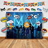 Superhero Cityscape Wall Decor Tapestry for Children Bedroom Living Room Home. A Photography Backdrop, Prop, Flag & Mask DIY Kit. Great as Super Hero City Photo Booth Background at Kids Birthday Party