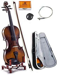SKY 1/16 Size SKYVN201 Solid Maple Wood Violin with Lightweight Case, Brazilwood Bow, String, Rosin and Mute