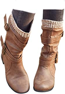 Women's Low Heel Mid Calf Boots Retro Strap Buckle Closed Toe Knight Boots Comfy Combat Style Fall Warm Outdoor Western Shoes
