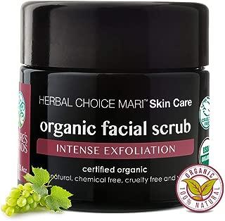 Herbal Choice Mari Organic Facial Scrub - Exfoliating Face Wash with Brown Sugar, Sea Salt, Shea Butter, and Grape Seed - for Dry Skin - 3.4 oz