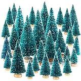 CHEPL Miniatura Albero di Natale 37PCS Mini Alberi Sisal con Base Legno Pino Natale Sisal per Decorare Tavolo, Fai da Te