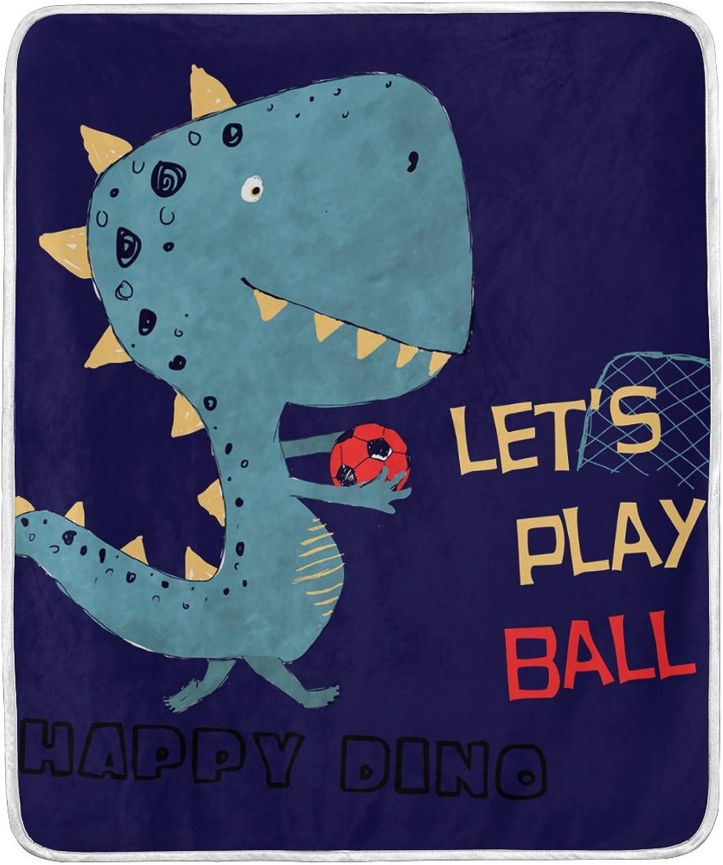 Hengpai Dinosaur Play Ball Print Kids Blanket Soft bluee Bed Couch Sofa Throw 50x60 in Boy