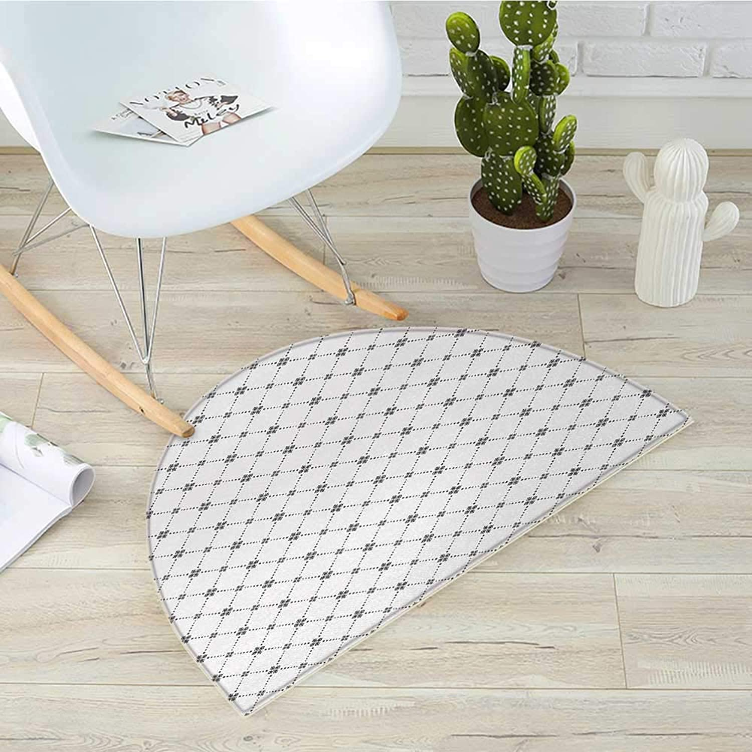 Geometric Semicircular CushionRepeating Dotted Rhombuses and Flowers Modern Stylish Texture Pattern Print Entry Door Mat H 39.3  xD 59  Grey and White