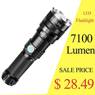 Handheld Flashlight 7100 Lumen with 26650 rechargeable Batteries LED Tactical Flashlight Zoomable 2 Modes Adjustable Focus Water Resistant for Camping Hiking Outdoor Biking Emergency