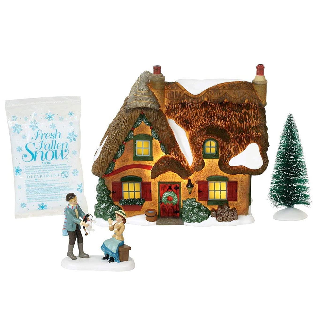 Department 56 Dickens Village Brookshire Cottage Lit Building and Accessories 5.25