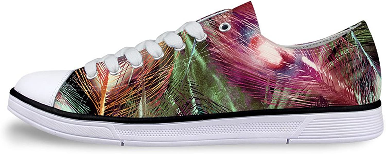 Mumeson Peacock Feather Women Lightweight Sneakers Lace-up Low Top Canvas shoes