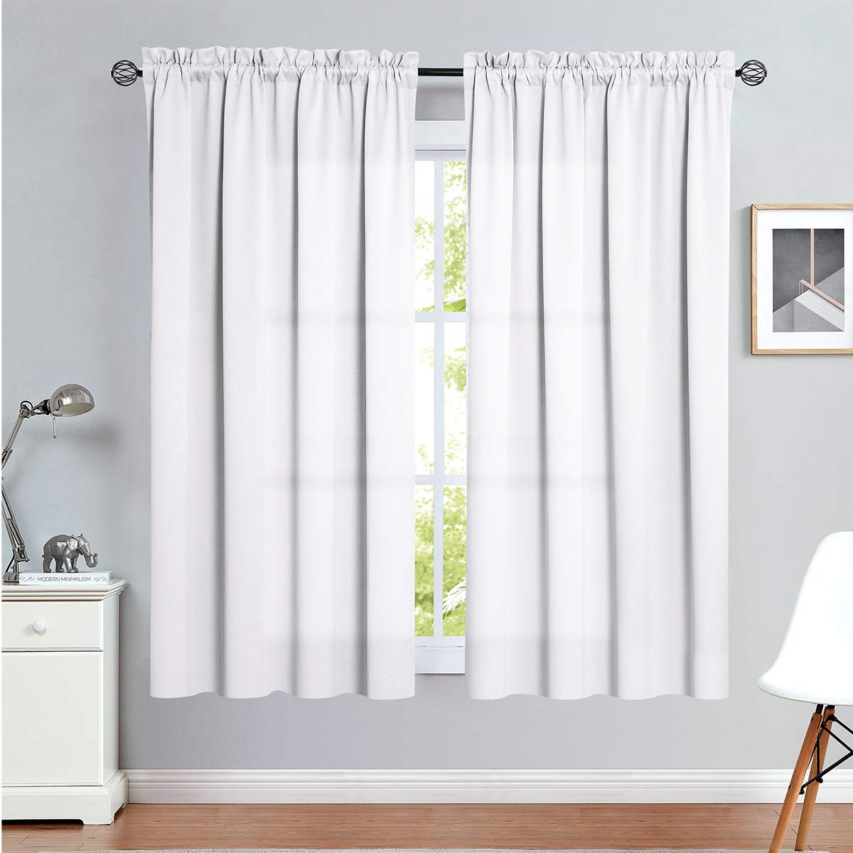 Amazon Com Vangao Rod Pocket Curtains White 72 Inches Long Drapes For Living Room Darkening Moderate Blackout Window Treatment For Bedroom Triple Weave 2 Panels Kitchen Dining