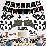 98 Pcs star wars birthday party supplies, Party Favors, party decorations Includes Happy Birthday Banner, Swirls, Foil Balloons, Cake & Cupcake Topper, Tableware, Napkins