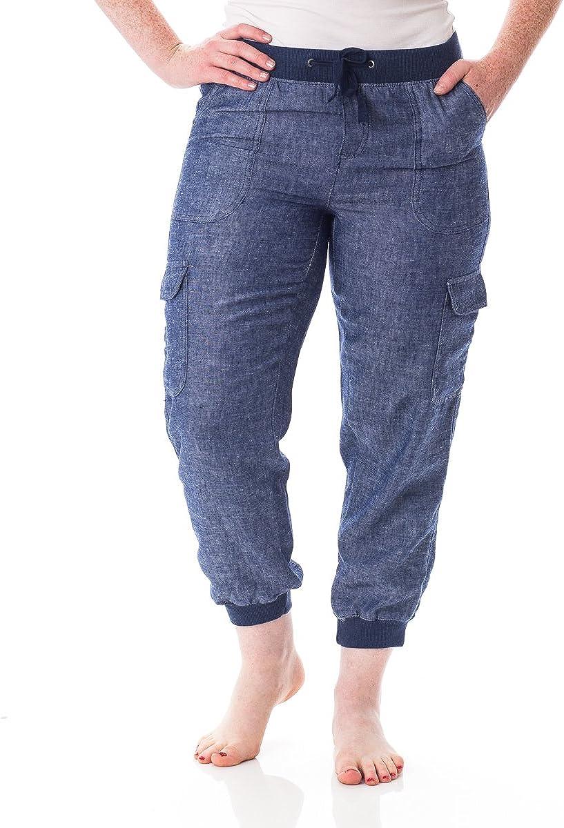 Alki'i Women's Casual Linen Cargo Jogger Pants with Comfort Waist 1192