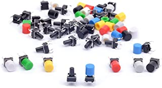 Cylewet 35Pcs 6×6×9mm Tactile Tact Push Button Switch Micro Switch Touch Switch with Button Caps of 7 Color for Arduino (P...