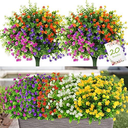 20 Pezzi Fiori Finti per la Decorazione, 5 Colori Fiori Artificiali Resistenti ai Raggi UV All'aperto, Bouquet di Plastica Finta Verde Arbusti Piante per la Casa Giardino Matrimonio Festa Finestre