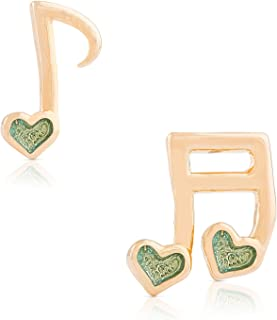 Jewelry for Girls – Musical Note Stud Earrings - 18k Gold Plated with Green Enamel - By Lily Nily