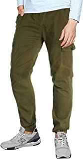MODCHOK Men's Twill Joggers Casual Cargo Pants Tapered Chino Military Pants Slim Fit Work Trousers