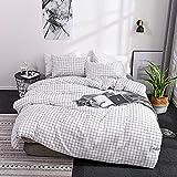 BH-JJSMGS Schwarz-weißes, minimalistisches Baumlaub, Bedruckte Bettdecke und Kissenbezug, 228 * 228 dreiteiliges weißes Plaid