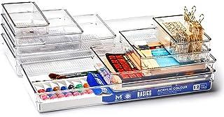 EZOWare Panier de Rangement Empilable en Plastique Transparent, Boîte de Rangement, Organiseur de Tiroir pour Bureau, Sall...