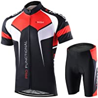 lixada Men's Cycling Jersey Set (Breathable Shirt+3D Cushion Shorts)
