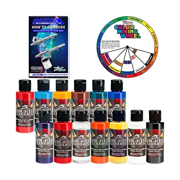 Createx-Top-12-Wicked-Airbrush-Paint-Colors-and-Reducer-with-The-Master-How-to-Airbrush-Book-and-Color-Wheel