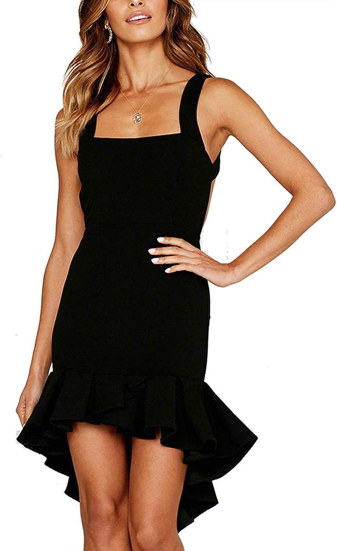 Casuress Fashion Women Basic Spaghetti Summer Casual Dress Sleeveless Mini Swing Short Dresses