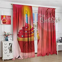 championCEL 58th Birthday, Window Curtain Fabric, Abstract Sun Beams Backdrop Party Theme Cupcake with Frosting Image, Patterned Drape for Glass Door, Ruby Red and Orange, 84x84 inch
