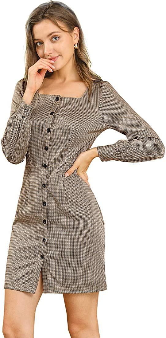 Allegra K Women's Vintage Square Neck Button Up Puff Long Sleeve Plaid Houndstooth Printed Dress
