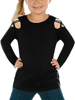 luvamia Girl's Long Sleeve Crisscross Cold Shoulder Casual T-Shirt Tee Tops