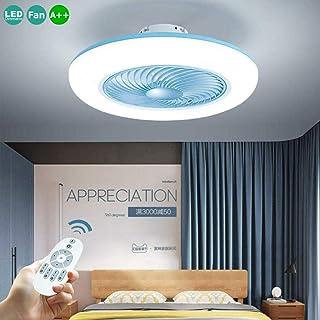 Ventilador De Techo Ajustable Con Iluminación Lámpara Del Techo Velocidad Del Viento Leddimmable Moderno Con Control Remoto 80W Ultra Silencioso Dormitorio Sala Puede Sincronización Bajo Ruido,Azul