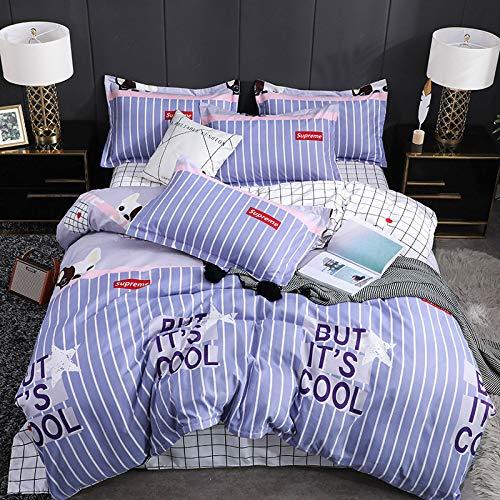 BH-JJSMGS Weiche Faser - Bettwäsche und Kissenbezug, vierteiliger Bettbezug aus Leinen, GG, 180 * 220 cm