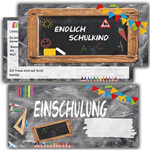 Einladung zur Einschulung Einladungskarten mit Umschlägen 12er Set zum Schulanfang Einladungen für Kinder Schulbeginn Schuleinführung Jungen Mädchen Schuleingang Schultüte (Einschulung1)