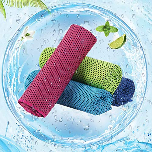 kühltücher 4er Set,cool down Towel,Kühlendes Handtuch Set Sofortige Relief Eiskalt Kühlen Handtuch Atmungsaktives Mesh Schweißsaugfähig,30x100cm, für Yoga Fitness, Camping, Reisen, Freizeit & mehr