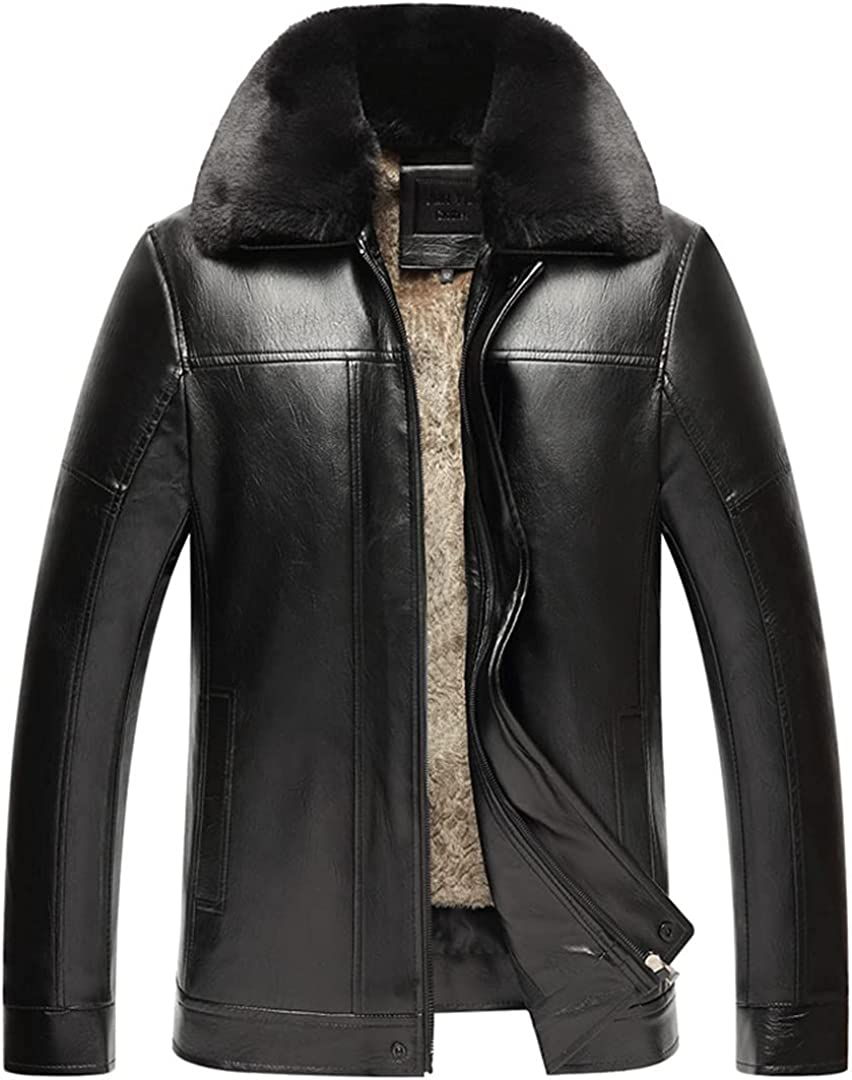Men's Warm Leather Parkas With Fur Hood Fleece Lined Thick Thermal Jacket Overcoat Outerwear