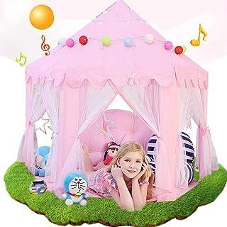 Tipi-tält för barn – rosa prinsessa tält, lektält, rosa hexagon prinsessa slott hus perfekt för inomhus lekrum, sovrum, ba...