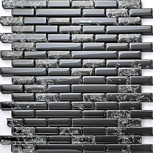 "Accentology 11-Pack Thor Black Interlocking 12"" x 12"" Glass Backsplash Tile for Kitchen   Mosaic Bathroom Tiles for Wall (1 sq. ft)"