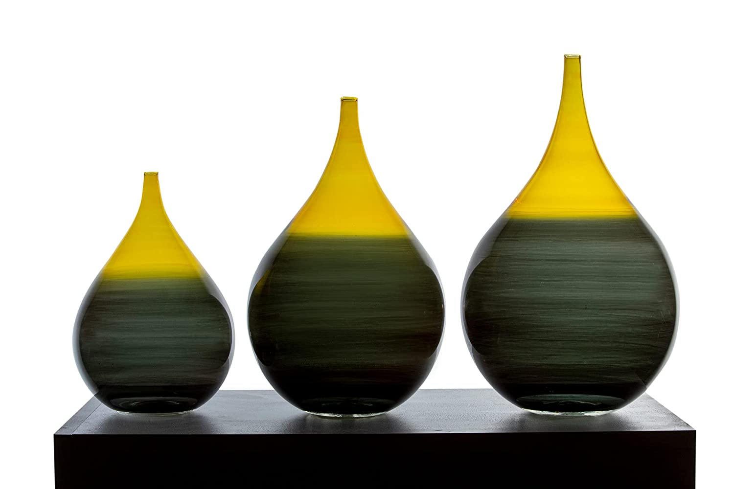Set of Three Vintage Classic Handmade made Glass Blown Vases Max 84% Ultra-Cheap Deals OFF wit
