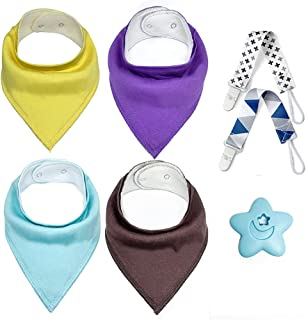 Baby Bandana Drool Bibs Set – 4 Packs Infant Bibs with Teether and Pacifier Clip