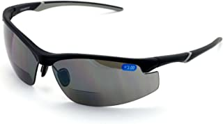 V.W.E. Rx-Bifocal High Performance Protective Safety Glasses Light Mirror Tint Bifocal - Sun Reader - Sunglasses Ansi Z87.1 (Matte Black, 1.00)