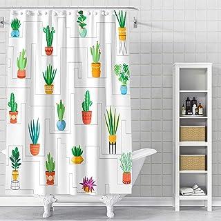 DESIHOM Cactus Shower Curtain 72x72 Inch Plant Shower Curtain Succulent Shower Curtain Green Botanical Shower Curtain Leaf...