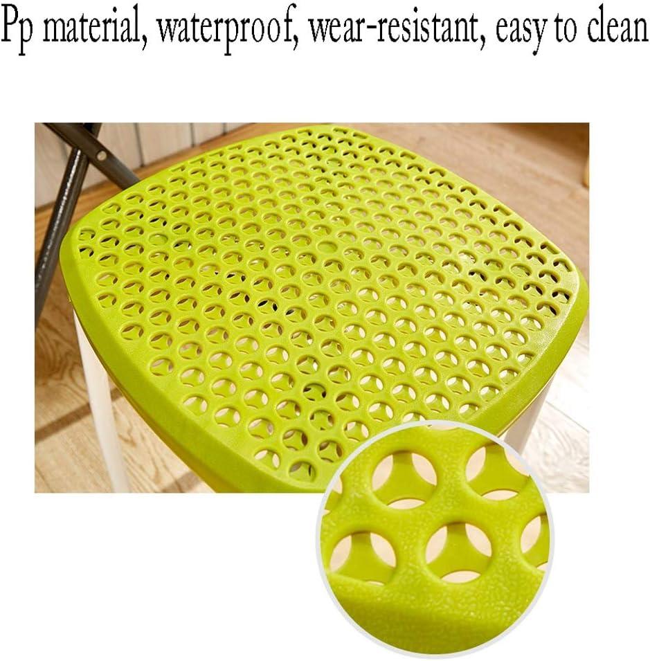 Tabouret SLL en plastique épais adulte chaise de salle à manger restaurant table banc de mode créative bureau ordinateur chaise moderne minimaliste chaises (couleur : vert) Blanc